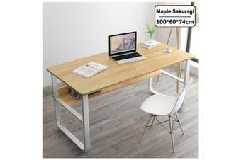 Office Table Thick Wood & Metal Home Study Computer Desktop Desk White (Maple Sakuragi)