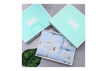 3Pcs Set Coral-Fleece Water Absorption Drying Bathing Face Towels Gift Set For Christmas (Blue)