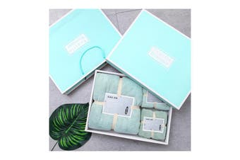 3Pcs Set Coral-Fleece Water Absorption Drying Bathing Face Towels Gift Set For Christmas (Green)