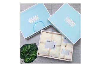3Pcs Set Coral-Fleece Water Absorption Drying Bathing Face Towels Gift Set For Christmas (Yellow)