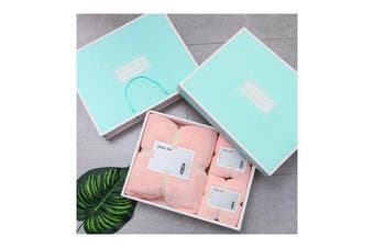3Pcs Set Coral-Fleece Water Absorption Drying Bathing Face Towels Gift Set For Christmas (Pink)