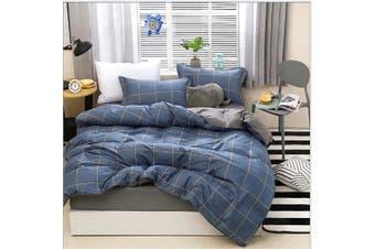 4pcs Blue Plaid Pattern Aloe Cotton Bedding Set Duvet Doona Quilt Cover Set (Queen)