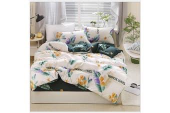 4pcs Green Leaves Pattern Aloe Cotton Bedding Set Duvet Doona Quilt Cover Set (Double)