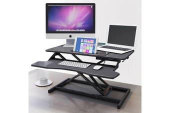 Standing Computer Desk Riser Height Adjustable Sit Stand Office Standup Shelf (Black)