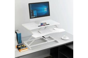 Standing Computer Desk Riser Height Adjustable Sit Stand Office Standup Shelf (White)
