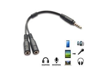 3.5mm AUX Audio MIC Splitter Headphone Earphone Adapter Male to 2 Female