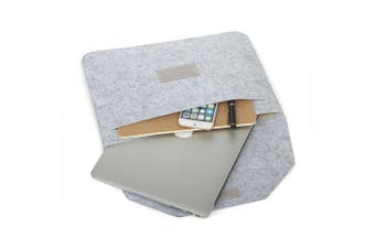 "Laptop Wool Felt Cover Bag Pouch for Apple MacBook Air Pro Retina (15.4"" Light Grey)"