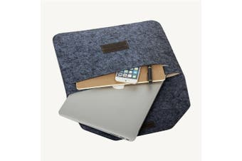 """Laptop Wool Felt Cover Bag Pouch for Apple MacBook Air Pro Retina (15.4"""" Grey)"""