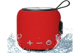 Portable Bluetooth Speaker 360 HD Surround Sound & Rich Stereo Bass Bluetooth 5.0 Dual Pairing Loud Wireless Mini Speaker 12H Playtime-Red