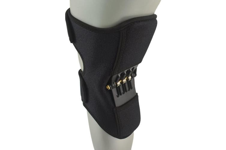 [Upgraded Type] 1 Pair Power Knee Stabilizer Pad Rebound Spring Force Knee Support Brace BLACK