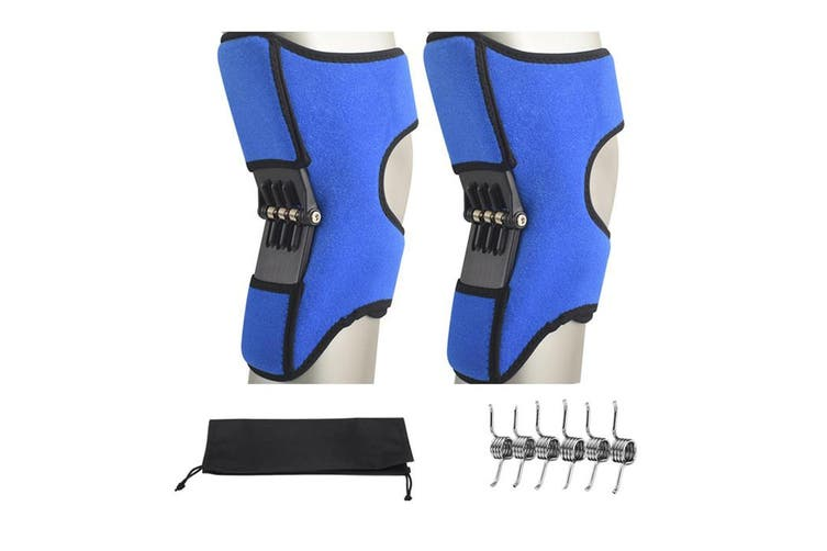 [Upgraded Type] 1 Pair Power Knee Stabilizer Pad Rebound Spring Force Knee Support Brace BLUE