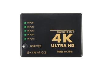 4K 5-Port 1080p HD Mutimedia Interface 3D Switcher Selector Splitter Video Hub For PS3 HDTV