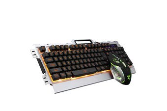 104Keys USB Wired Colorful Backlit Mechanical Hand-feel Gaming Keyboard Mouse Mouse Pad Set Combo