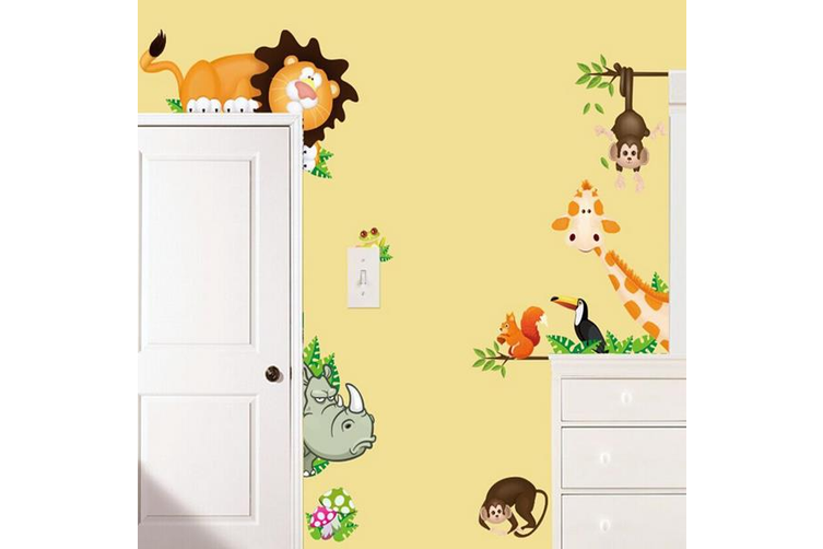 2pcs Cartoon Animal Wall Sticker Living Room Home Decoration Creative Decal DIY Mural Wall Art