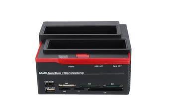 2.5'' 3.5'' External Dual SATA IDE HDD Hard Drive Docking Clone Card Reader USB 2.0 Hard Drive Enclosure Drive Docking Station