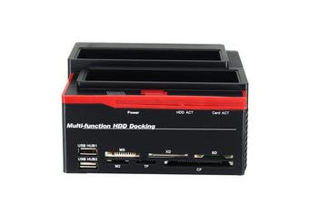 "2.5/3.5"" SATA IDE HDD Docking Station Offline Clone Hard Drive Enclosure USB2.0 HUB Card Reader US"