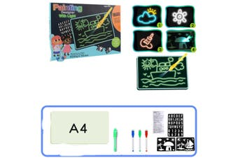 Magic Educational Fluorescent Developing Toys Luminous Light Up Drawing Kit Card Board with Light Fun and Pen for Children Kids Doodle Art Write
