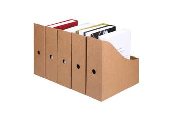 5 Pcs/set Magazine File Holders Storage Box Drawer Kraft Paper File Holder Desktop Documents Organizer Bookshelf Office Supplies