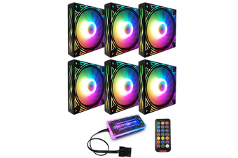 6PCS 12cm Multilayer Backlit RGB CPU Cooling Fan Computer PC Case with the RF Wireless Remote Control