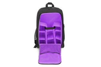 Waterproof Theftproof Large Camera Backpack Bag Case For DSLR Camera Lens PURPLE