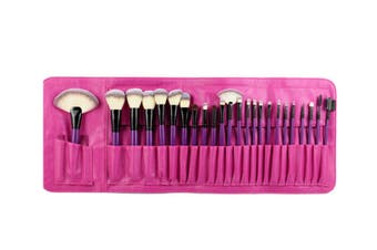 24Pcs Top-Grade Cosmetic Brushes With Fashionable Brush Packs Rose Red