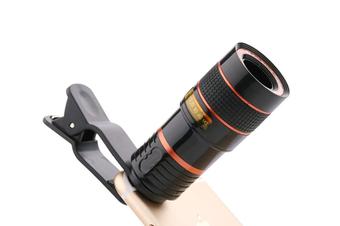 JunChang Universal 12X Telephoto Mobile Phone Focusing Zoom Telescope Head External HD Camera 12 Times Lens-Black