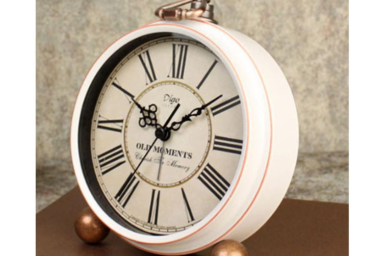 "5"" Retro Creative Alarm Clock Decoration White Roman Digital Desk Clock"