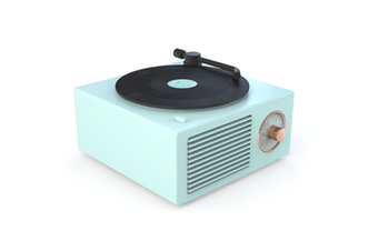 JunChang Wireless Bluetooth Audio Mini Portable Small Steel Cannon Multifunctional Vinyl Record Player-Green