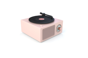 JunChang Wireless Bluetooth Audio Mini Portable Small Steel Cannon Multifunctional Vinyl Record Player-Pink