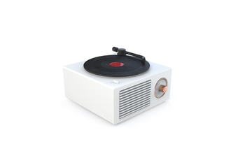 JunChang Wireless Bluetooth Audio Mini Portable Small Steel Cannon Multifunctional Vinyl Record Player-White