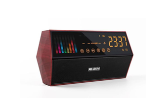 JunChang Woodgrain Audio Smart Wireless Bluetooth Speaker Retro Clock Alarm Clock Radio with Display-Red