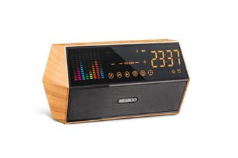 JunChang Woodgrain Audio Smart Wireless Bluetooth Speaker Retro Clock Alarm Clock Radio with Display-Yellow