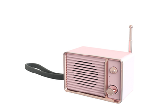 JunChang Wireless Bluetooth Speaker Retro Small Tv Style Bluetooth Audio Music Player Suitable for Bedroom-Pink