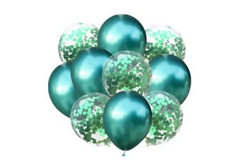 JunChang 10PCS Colorful Balloon Confetti Balloon Combination Suitable for Wedding Birthday Party Decoration-Green