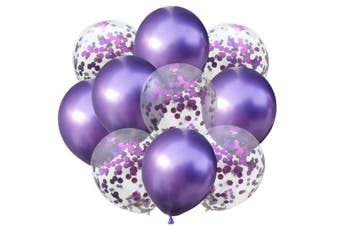 JunChang 10PCS Colorful Balloon Confetti Balloon Combination Suitable for Wedding Birthday Party Decoration-Purple