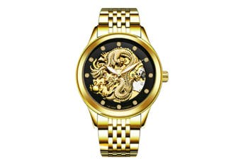 JunChang Automatic Dragon Watch Business Steel Band Watch Luminous Waterproof Mechanical Watch Suitable for Men-5