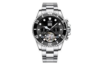 JunChang Multifunctional Waterproof Mechanical Watch Full Automatic Display Casual Watch Suitable for Men-Black