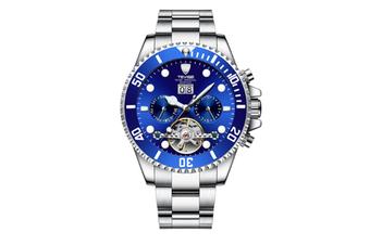 JunChang Multifunctional Waterproof Mechanical Watch Full Automatic Display Casual Watch Suitable for Men-Blue