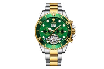 JunChang Multifunctional Waterproof Mechanical Watch Full Automatic Display Casual Watch Suitable for Men-Gold Green
