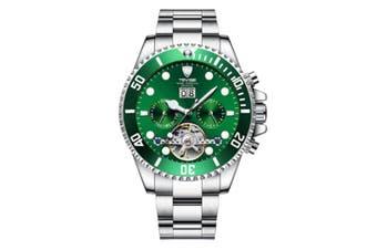 JunChang Multifunctional Waterproof Mechanical Watch Full Automatic Display Casual Watch Suitable for Men-Green