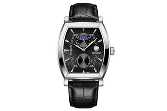 JunChang Multifunctional Non-mechanical Waterproof Watch Fully Automatic Rectangular Quartz Watch for Men-Black