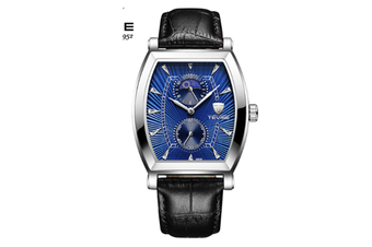 JunChang Multifunctional Non-mechanical Waterproof Watch Fully Automatic Rectangular Quartz Watch for Men-Blue