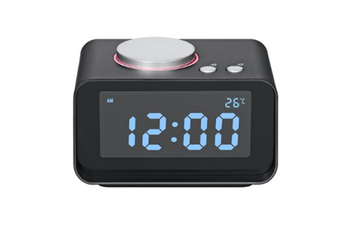 JunChang Multifunctional Creative Smart Alarm Clock Mute Mini Bedside Electronic Digital Clock Radio Suitable for Bedroom-Black