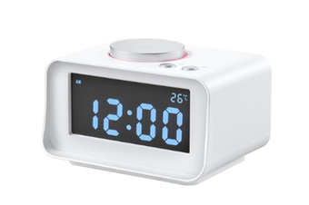 JunChang Multifunctional Creative Smart Alarm Clock Mute Mini Bedside Electronic Digital Clock Radio Suitable for Bedroom-White