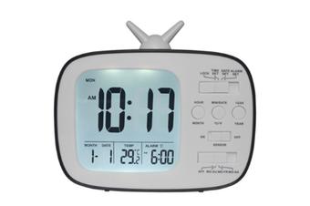 JunChang 3-inch Multifunctional Alarm Clock LCD Electronic Clock Student Bedside Alarm Clock Photosensitive Alarm Clock Suitable for Children-Black