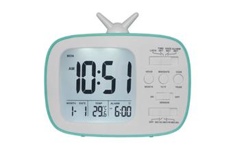 JunChang 3-inch Multifunctional Alarm Clock LCD Electronic Clock Student Bedside Alarm Clock Photosensitive Alarm Clock Suitable for Children-Blue