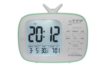 JunChang 3-inch Multifunctional Alarm Clock LCD Electronic Clock Student Bedside Alarm Clock Photosensitive Alarm Clock Suitable for Children-Green