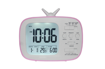 JunChang 3-inch Multifunctional Alarm Clock LCD Electronic Clock Student Bedside Alarm Clock Photosensitive Alarm Clock Suitable for Children-Red