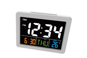 JunChang 6-Inch Color Large Screen LCD Electronic Clock With Temperature Alarm Student Alarm Clock