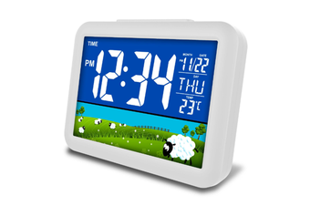 JunChang 12-Inch Smart LCD Color Screen Clock Large Screen Electronic Clock Child Student Bedside Alarm Clock-Green